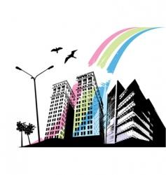 rainbow city vector image