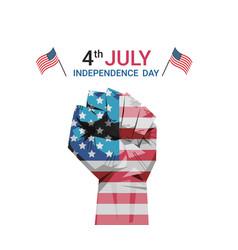raised up fist united states flag painted 4th vector image