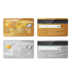 Realistic gold and silver bank credit card vector