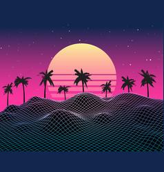 Retro vaporwave background future landscape 80s vector