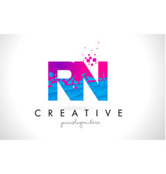Rn r n letter logo with shattered broken blue vector
