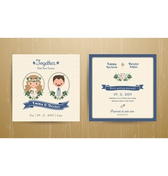 Rustic wedding cartoon bride and groom couple vector image