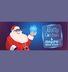 Santa claus wear digital glasses holding virtual vector