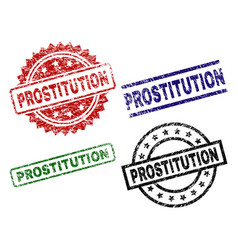 Scratched textured prostitution stamp seals vector