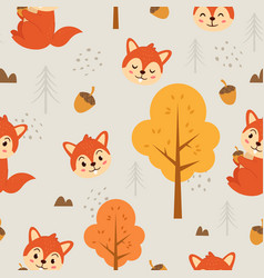 seamless pattern cute squirrel vector image