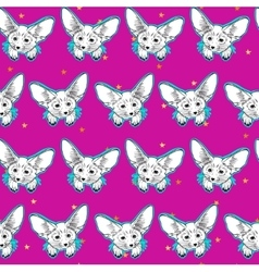 Seamless pattern with cute fox animal and gold vector image