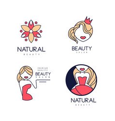 Set of 4 linear beauty salon logo templates with vector