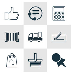 Set of 9 commerce icons includes recommended vector
