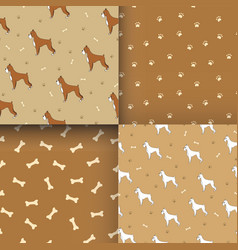 set of seamless pattern with cute dog breed boxer vector image