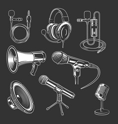 Set recorder microphone and headphones for vector