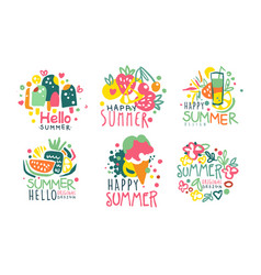 Set summer logos in pink with yellow and blue vector