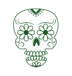 Skull catrina flower decoration cinco de mayo vector