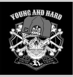 skull young hard wearing cap hand drawingshirt vector image
