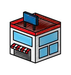 Store building isometric icon vector