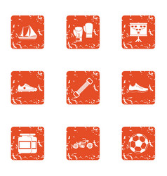 Street internship icons set grunge style vector