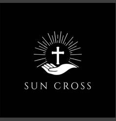 Sun sunrise sunset christian cross religion logo vector