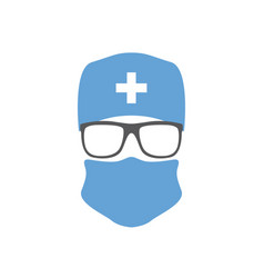 surgeon in hat mask and glasses doctor icon vector image