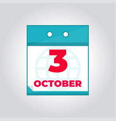 third 3 october flat daily calendar icon vector image