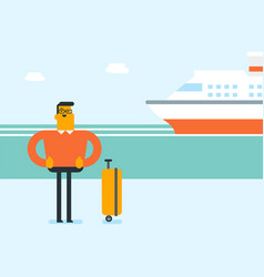 Tourist goes to the cruise liner with a suitcase vector