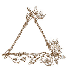 Triangular frame made of branches with roses and vector