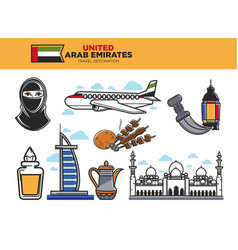 United arab emirates travel destination poster vector