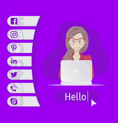 User contacts social icons woman sitting at vector