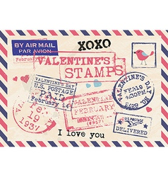 Valentines day vintage template background stamps vector