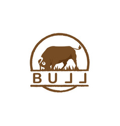 vintage cattle buff logo template in circle shape vector image
