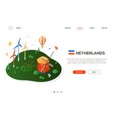 visit the netherlands - modern colorful isometric vector image