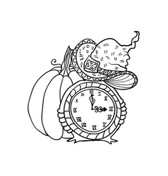 witch hat and clock near pumpkin halloween vector image