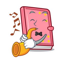 With trumpet diary mascot cartoon style vector