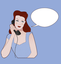 woman talking on the phone speech balloon on the vector image