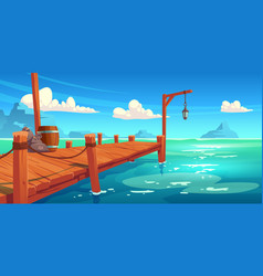 wooden pier on river lake or sea landscape wharf vector image