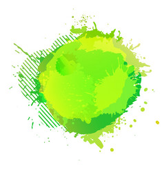 Yellow green digital watercolor splash vector