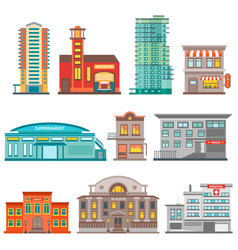 city buildings icon set vector image