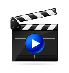 open movie clapboard on white background vector image vector image