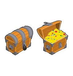 Treasure Chest set Outdoor and indoor Old casket vector image
