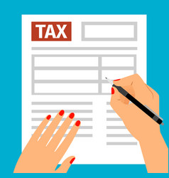 woman hands filling tax form vector image