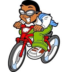 Happy Boy Riding Bike vector image vector image