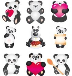 panda collection vector image
