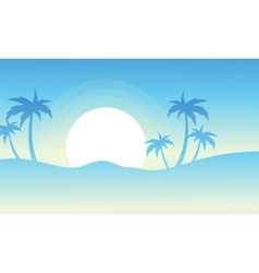 Silhouette of palm at sunrise vector image vector image