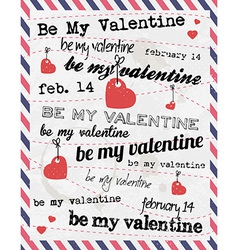 Valentines Day Vintage Template Background vector image