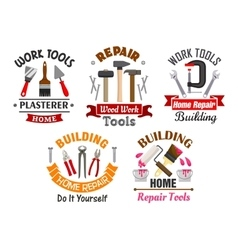 Work tools for repair and building badges set vector