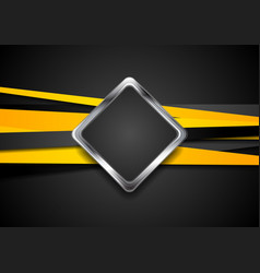 black and orange abstract tech background vector image