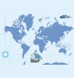 contour map with ship and monster vector image vector image