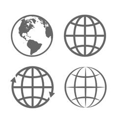 Earth globe emblem logo template icon set vector