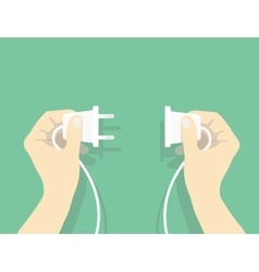 Two hands trying to connect electric plug vector image vector image