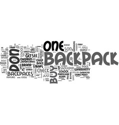 backpack do s and don ts text word cloud concept vector image vector image