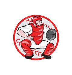 Baseball catcher catching cartoon vector