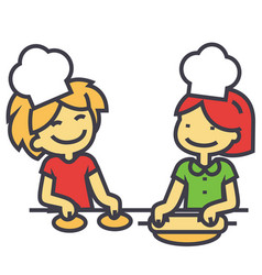 Children cooking cooking classes for kids concept vector